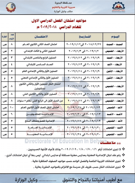جدول امتحانات المرحلة الابتدائية الترم الاول 2019 جميع المحافظات