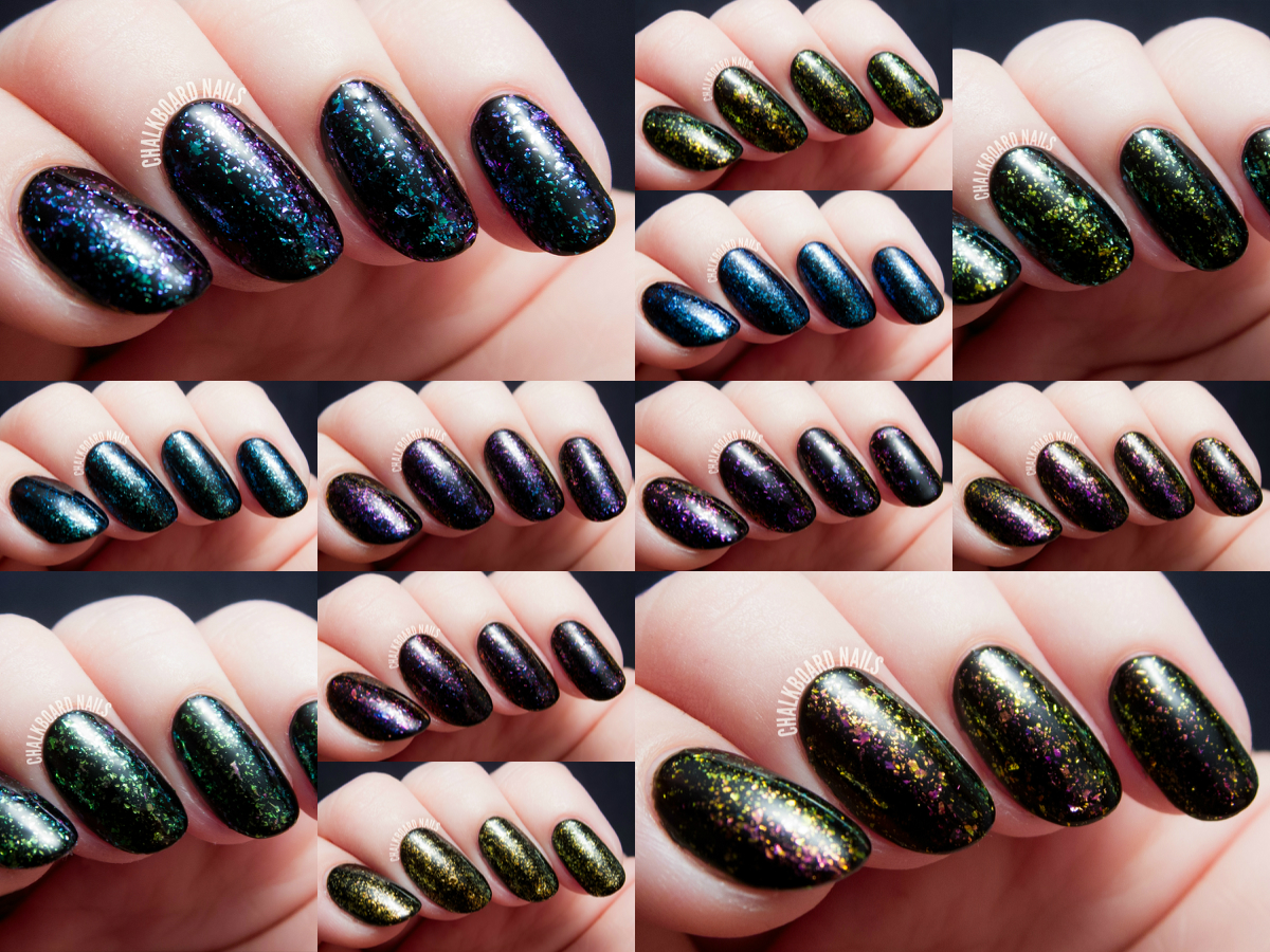 I Love Nail Polish Ultra Chrome Flakies Collection via @chalkboardnails