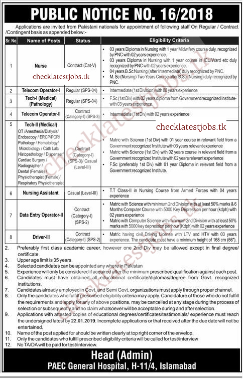 PAEC General Hospital Islamabad Jobs 2019 for Nurses,Telecom