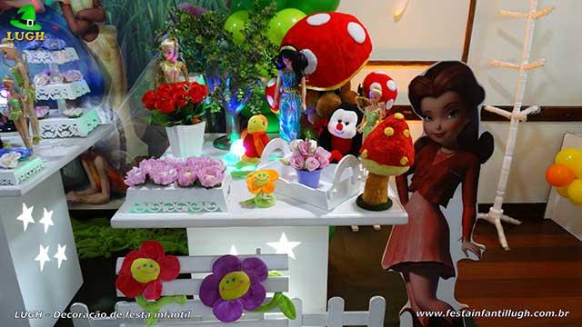 Decoração mesa de aniversário Tinker Bell provençal simples para festa temática infantil