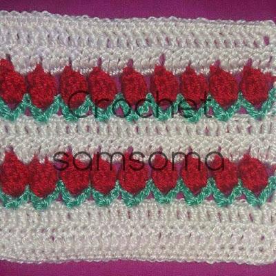 tulip rose crochet...غرزة الزنبقة . مفرش زهرة التوليب. طريقة كروشيه زهرة التوليب . Crochet Patterns and  . كروشيه سمسومة . crochet samsoma .Crochet . كروشيه زهرة التوليب ..  tulip rose crochet afghan