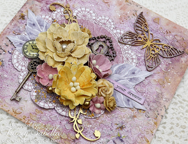 """Own Your Dreams"" Mixed Media Card by Tracey Sabella for Studio75 #studio75 #mixedmedia #mixedmediacard #shabbymixedmedia #shabbychic #shabbychiccard #finnabair #primamarketing #49andmarket #timholtz #thecraftersworkshop #helmar"