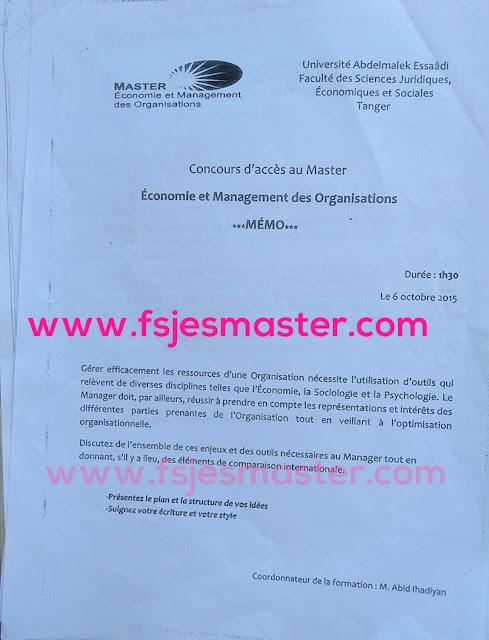 Master Économie et Management des Organisations