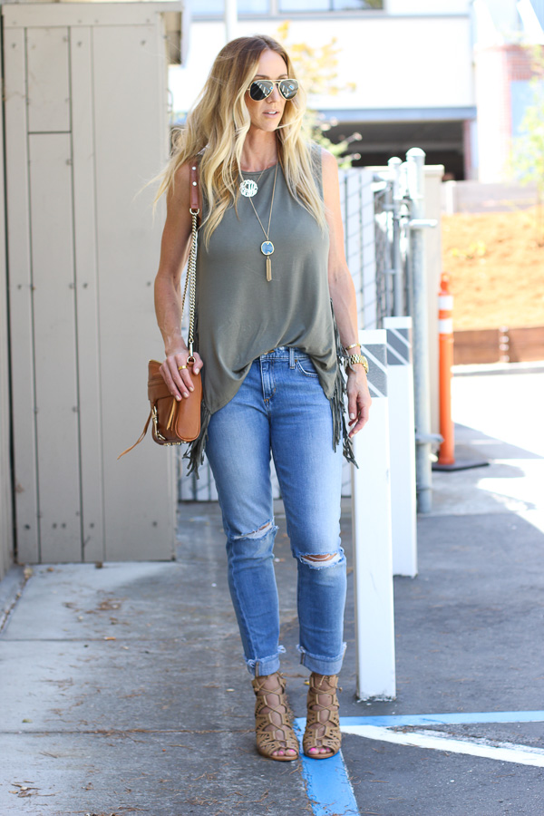 olive green fringe top american eagle