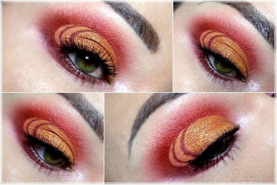 cut crease augen makeup in orange rot