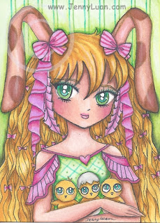 anime rabbit girl ACEO art card