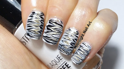 Drag Dry Marble Nail Art in White, Black & Gold - Needle Tutorial - toothpick tutorial
