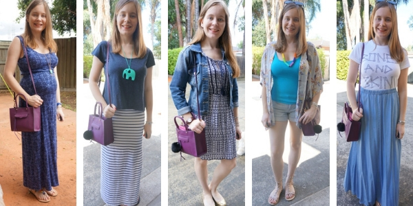 ways to wear a purple mini mab tote bag with a blue outfit | awayfromblue