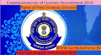 Commissionerate of Customs Mangaluru Recruitment 2018– 36 Seaman, Greaser