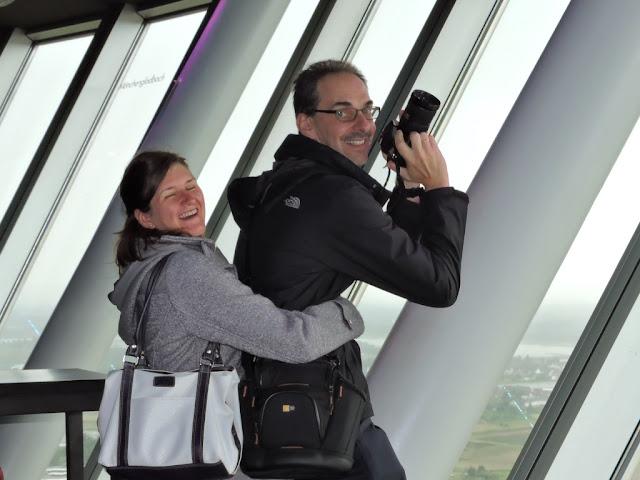 Rheinturm Dusseldorf funny couple