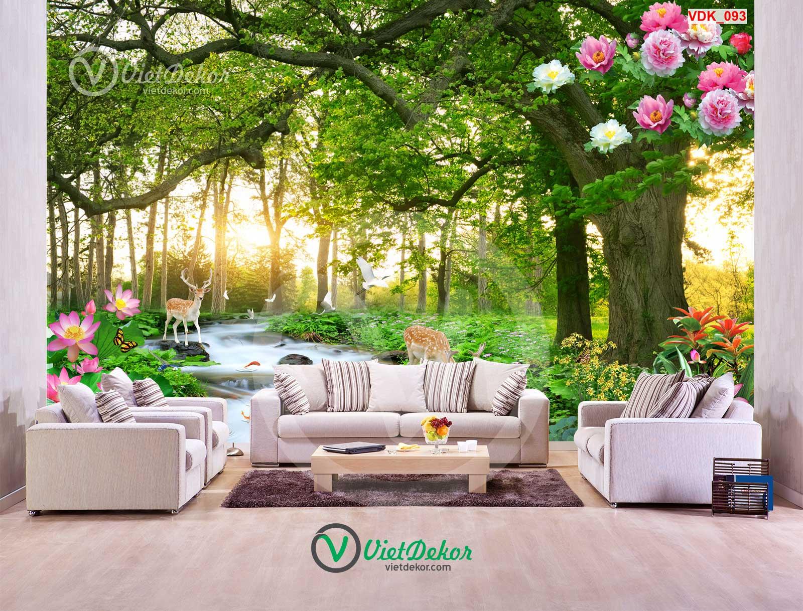 Tranh 3d thác nước hoa sen lai con cánh rừng phong cảnh thiên nhiên