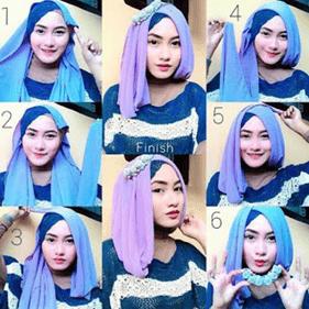 cara memakai jilbab segi empat simple untuk lebaran
