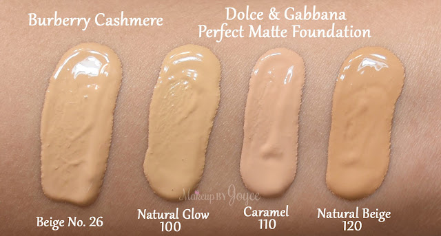 Dolce & Gabbana Perfect Matte Foundation Natural Glow 100 Caramel 110 Natural Beige 120 MAC NC30 Swatches