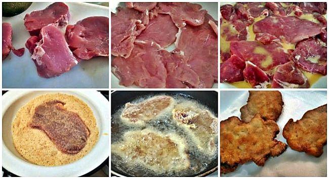 Preparación del filete de solomillo de cerdo empanado