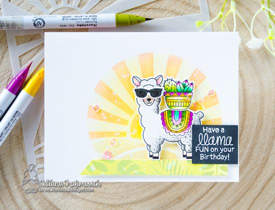 Llama Birthday Card by Tatiana Trafimovich | Loveable Llamas Stamp Set and Sunscape Stencil by Newton's Nook Designs #newtonsnook #handmade #llama