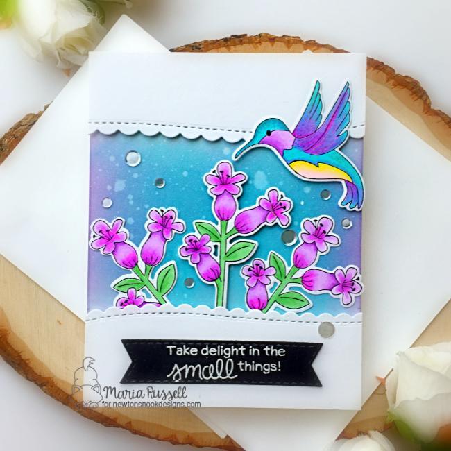 Hummingbird Card by Maria Russell   Hummingbird Stamp Set and Banner Trio Die Set by Newton's Nook Designs #newtonsnook #handmade