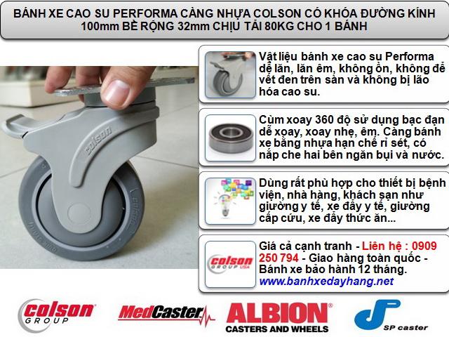 Bánh xe cao su lăn êm không ồn Colson Mỹ 4 inch | STO-4856-448BRK4 www.banhxeday.xyz