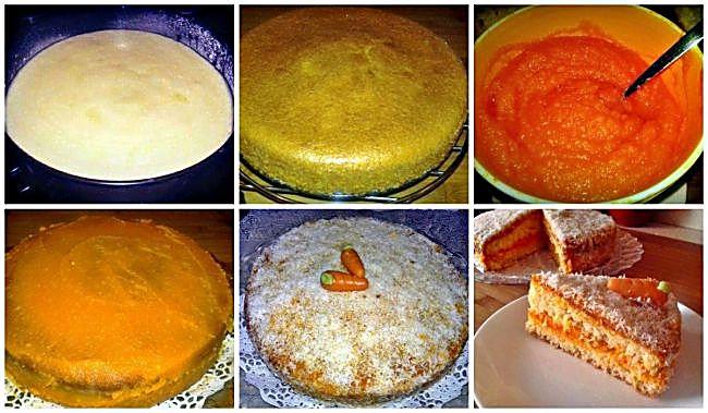 Preparación de la tarta de coco y zanahoria