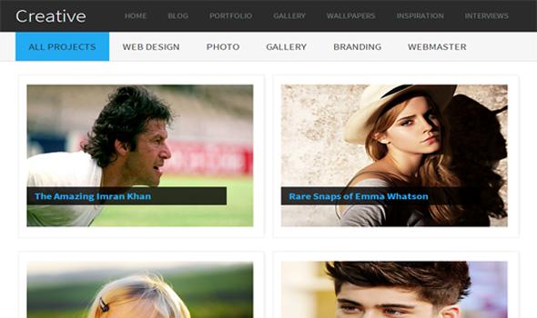 Creative gallery blogger template - blogger template world