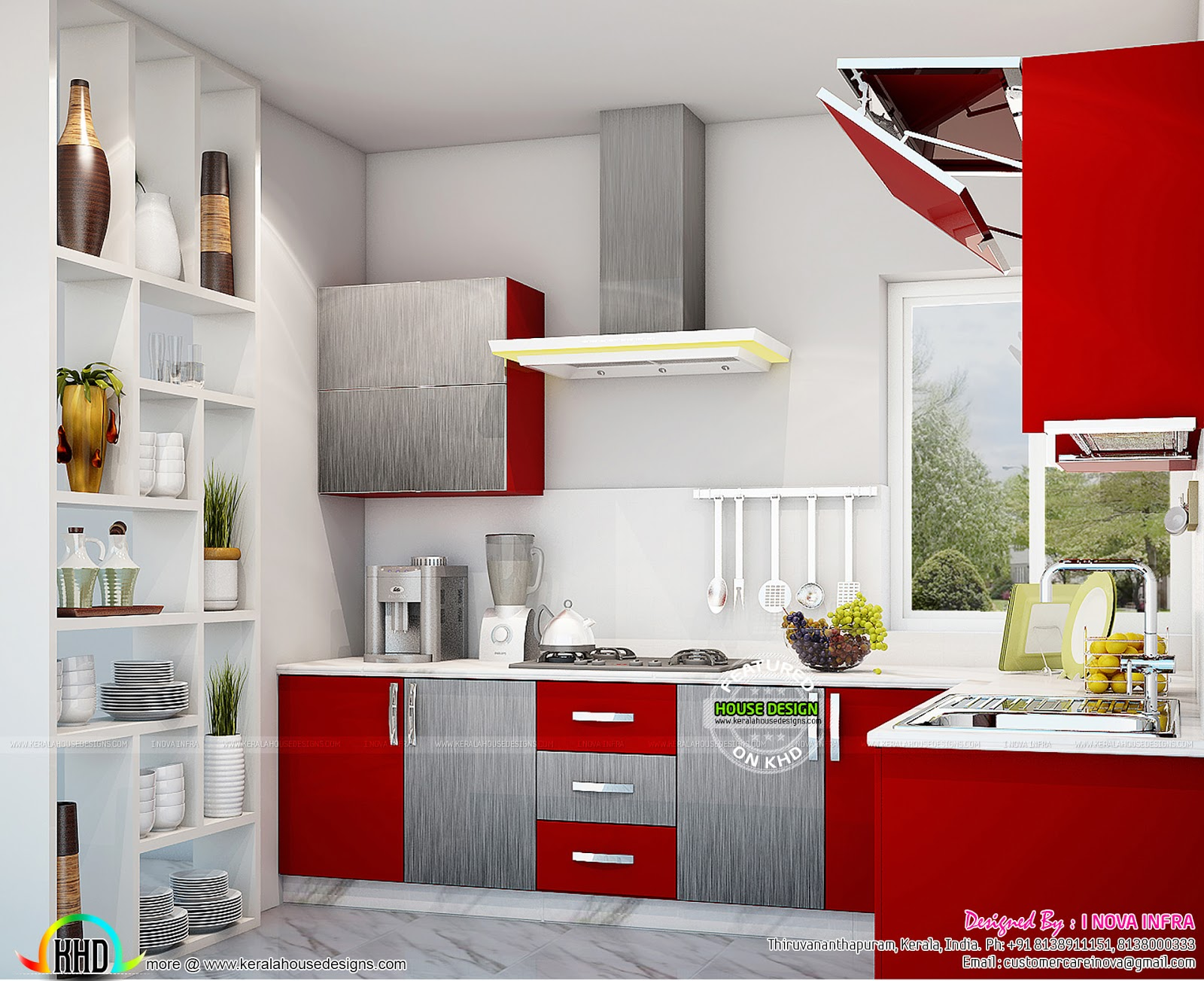 Kitchen interior works at trivandrum kerala home design for Kitchen interior decoration images