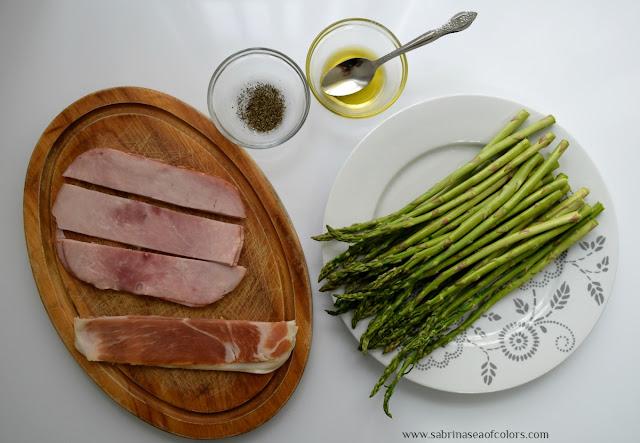 Espárragos al horno con jamón ingredientes