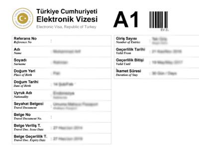 contoh visa siap digunakan untuk mengunjungi negara turki