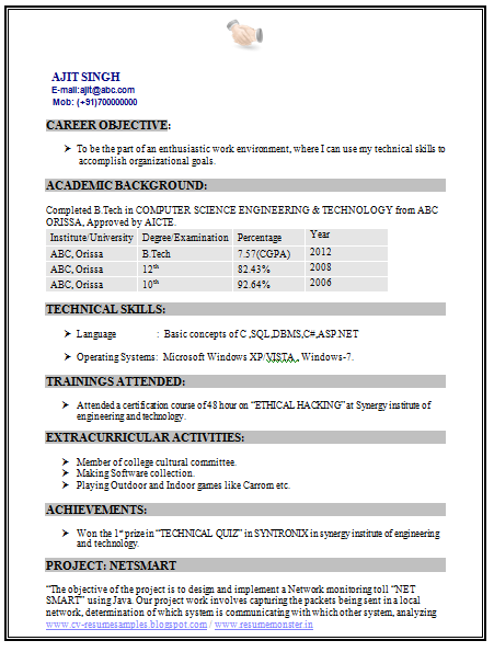 m tech fresher resume sample doc