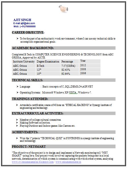 Resume Java Freshers Sample Pdf Format For