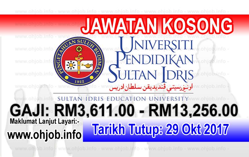 Jawatan Kerja Kosong UPSI - Universiti Pendidikan Sultan Idris logo www.ohjob.info oktober 2017