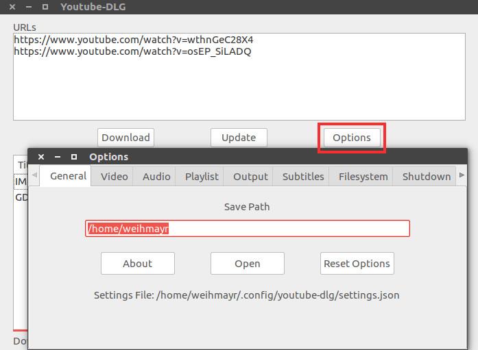 configurar youtube-dlg para baixar videos