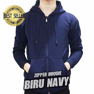 hoodie ZIPPER polos BIRU NAVY
