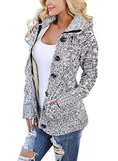 Sidefeel Women Hooded Knit Sweater Coat