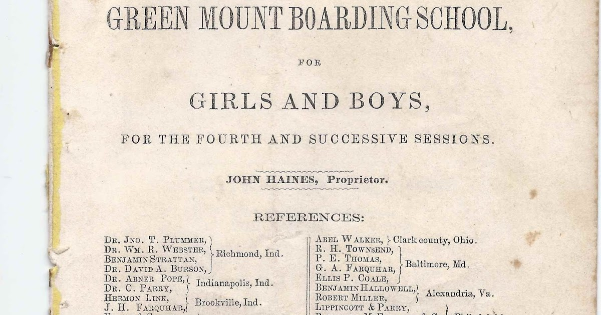 Heirlooms Reunited 1854 Circular Of Green Mount Boarding School At Richmond Indiana Many Names