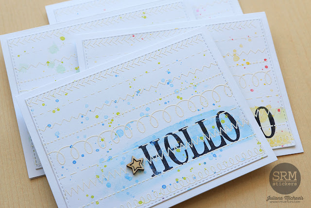 Hello Card Set by Juliana Michaels featuring SRM Stickers Clear Stamps Big Hello Stamp Set and Stamped Stitches Stamp Set