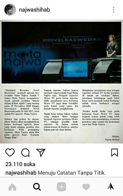 Unggahan Najwa Shihab di Instagram tentang Akhir Cerita di Mata Najwa