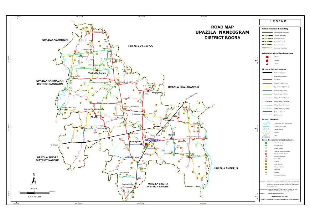 Nandigram Upazila Road Map Bogra District Bangladesh