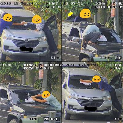 Parkir sembarangan, kaca depan dipasangi stiker peringatan