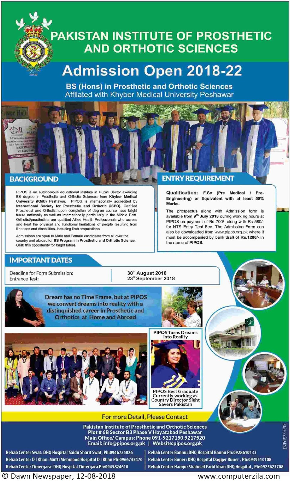 Admissions Open For Fall 2018 At PIPOS Peshawar Campus