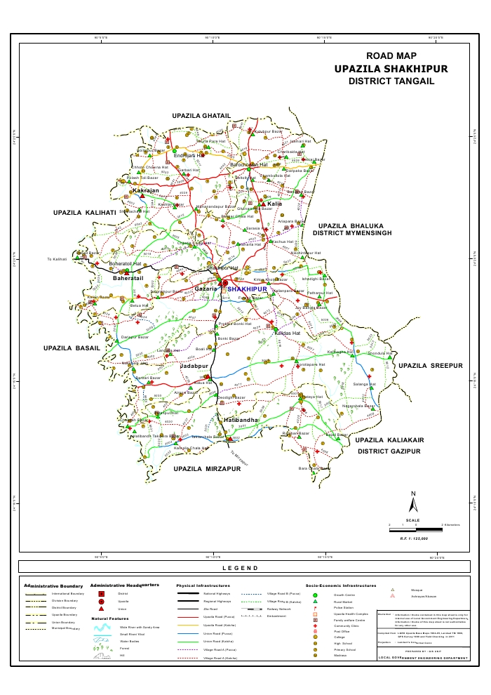 Sakhipur Upazila Road Map Tangail District Bangladesh
