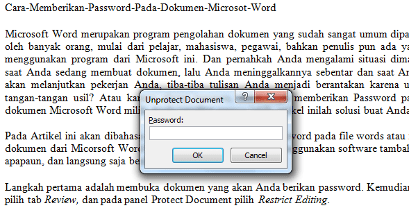 Cara Memberikan Password Pada Dokumen Microsot Word
