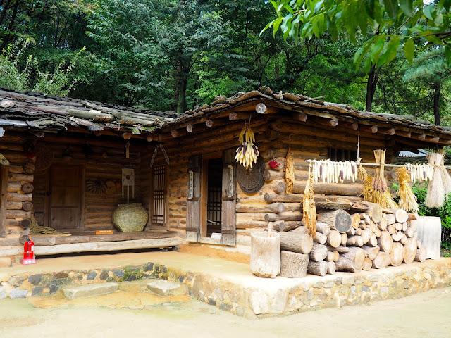 Log cabin mountain house in the Korean Folk Village, Yongin, Gyeonggi-do, South Korea