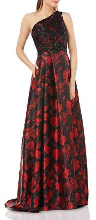 Carmen Marc Valvo Infusion High/Low Floral Ball Gown