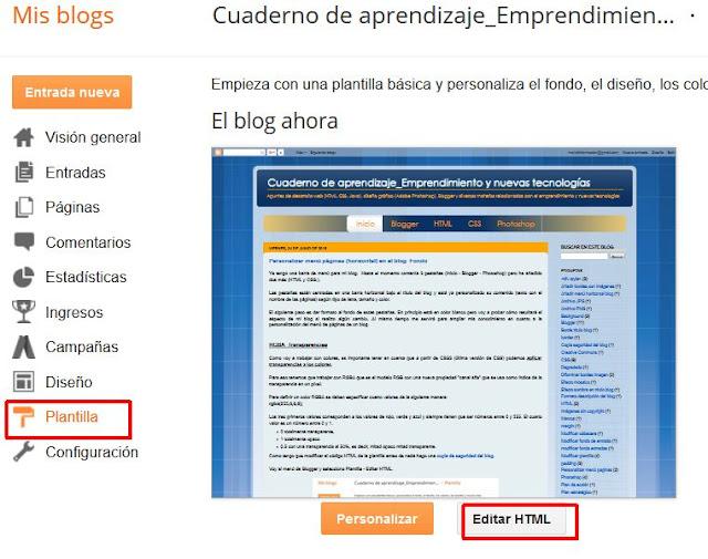 Editar HTML plantilla blog