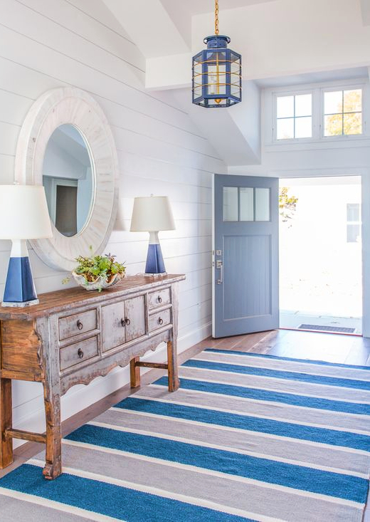 Blue Striped Entryway Hallway Rug