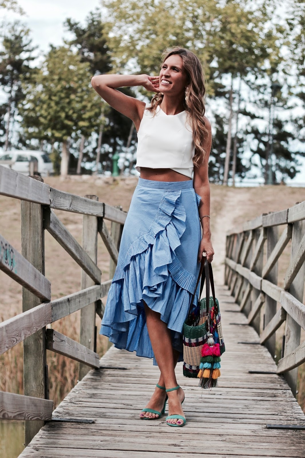 falda rayas azul y blanca