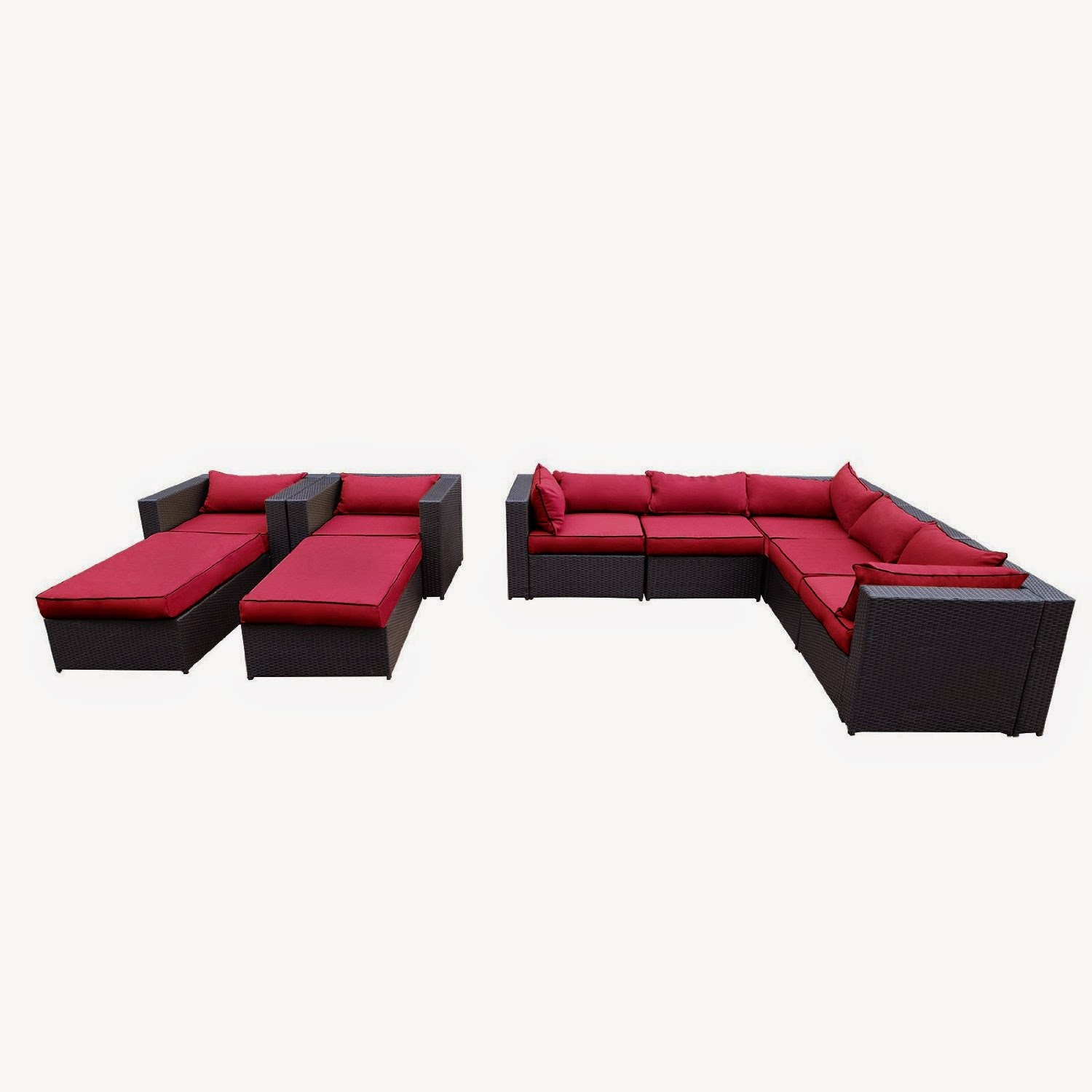 Outdoor Patio Rattan Wicker Furniture Sectional Sofa Garden Furniture Set (Red)