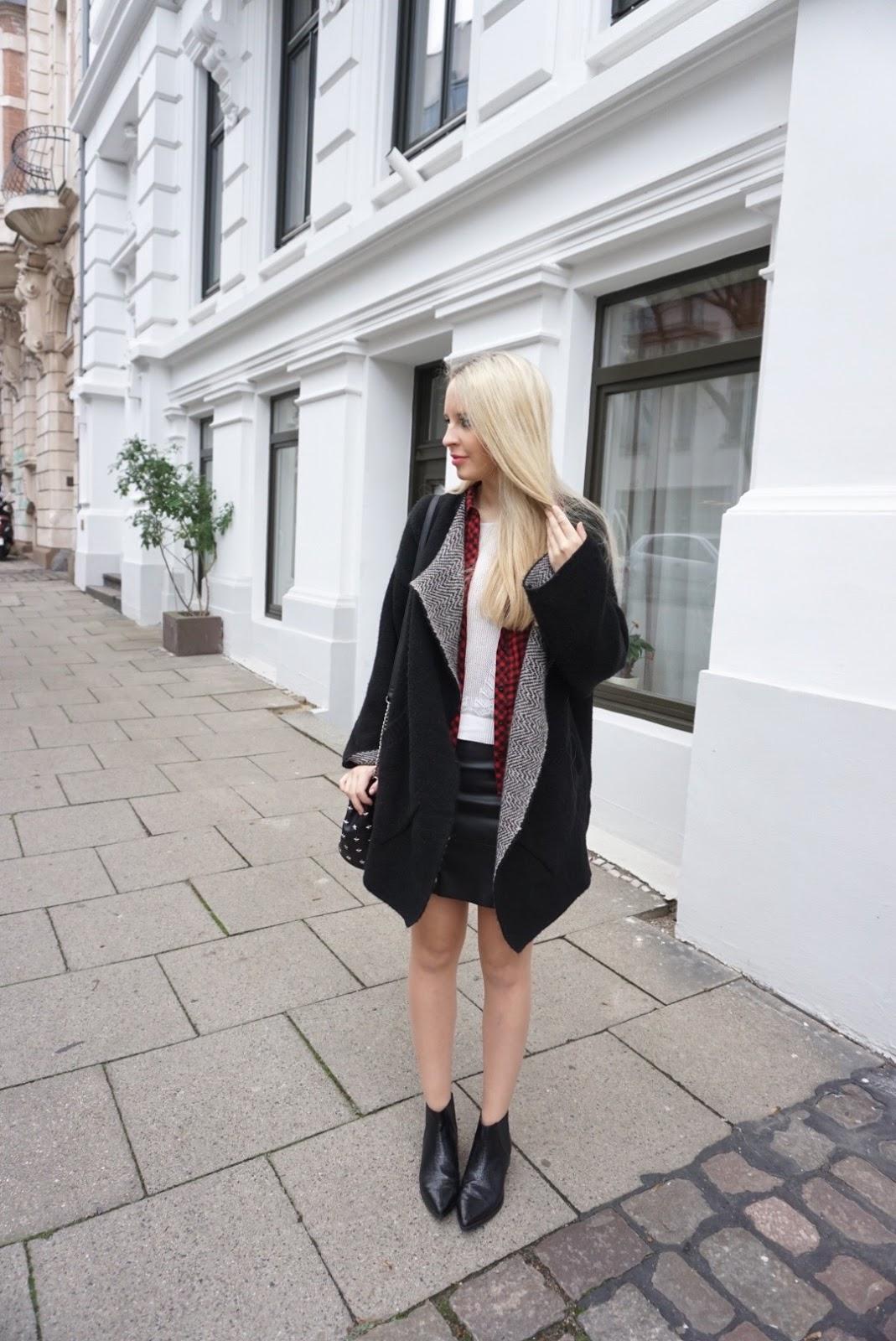 Herbst Streetstyle 2016 Leather Skirt