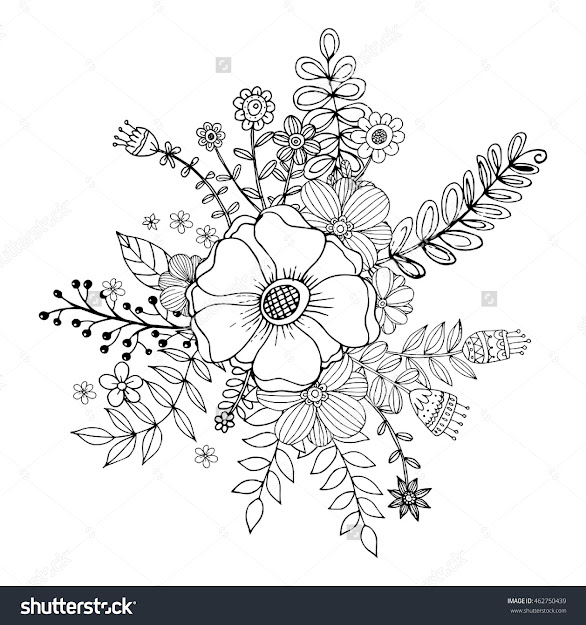 Flower Doodle Drawing Freehand Vector Coloring Page With Doodle Flowers  Vector Bouquet Zentangle