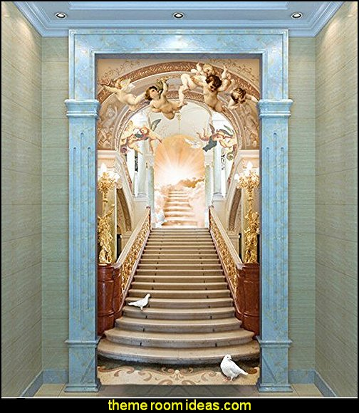 Angel Stairs To Heaven Mural  mythology theme bedrooms - greek theme room - roman theme rooms - angelic heavenly realm theme decorating ideas - Greek Mythology Decorations - heavenly wall murals - angel wings decor - angel theme bedroom ideas - greek mythology decorating ideas - Ancient Greek Corinthian Column - Angel themed baby room - angel dec0r - cloud murals - heaven murals - angel murals
