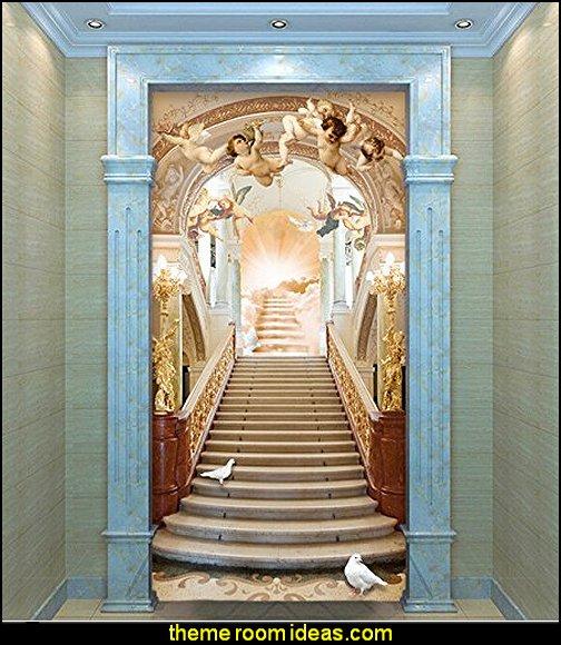 mythology theme bedrooms - greek theme room - roman theme rooms - angelic heavenly realm theme decorating ideas - Greek Mythology Decorations -  angel wall lights - angel wings decor - angel theme bedroom ideas - greek mythology decorating ideas - Ancient Greek Corinthian Column - Spartan Warrior Gladiators - Greek gods - Angel themed baby room - angel decor - cloud murals - heaven murals - angel murals - ethereal heavenly style